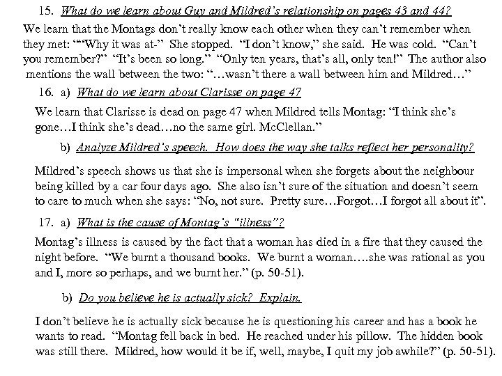 15. What do we learn about Guy and Mildred's relationship on pages 43 and