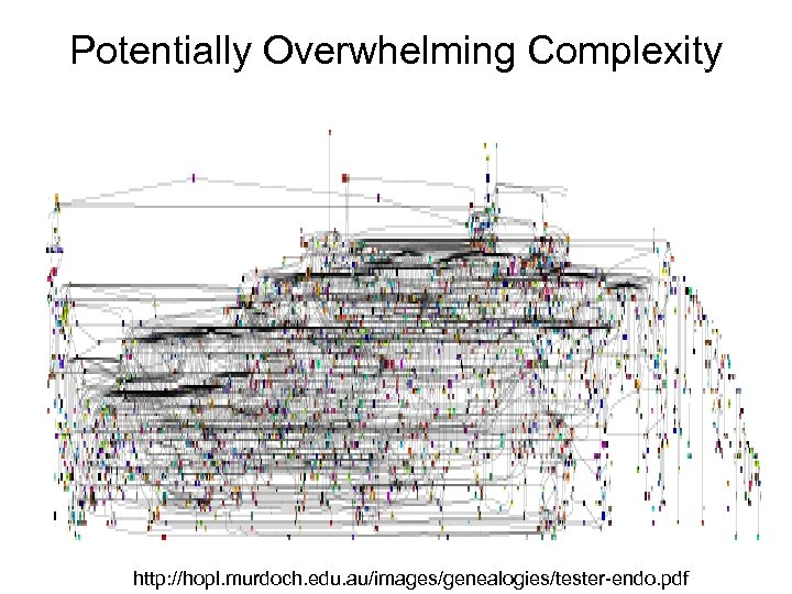 Potentially Overwhelming Complexity http: //hopl. murdoch. edu. au/images/genealogies/tester-endo. pdf