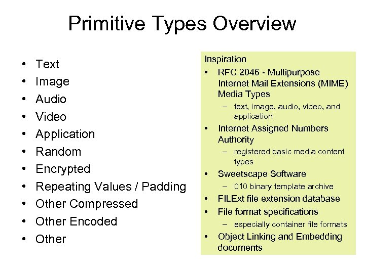 Primitive Types Overview • • • Text Image Audio Video Application Random Encrypted Repeating