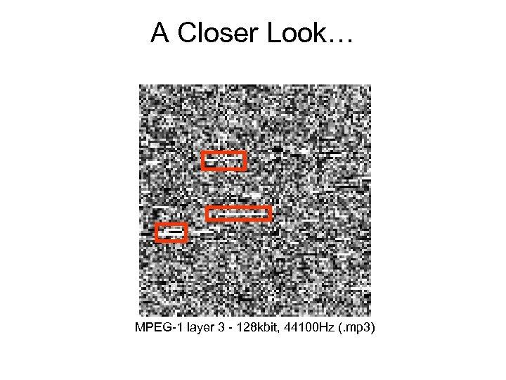 A Closer Look… MPEG-1 layer 3 - 128 kbit, 44100 Hz (. mp 3)