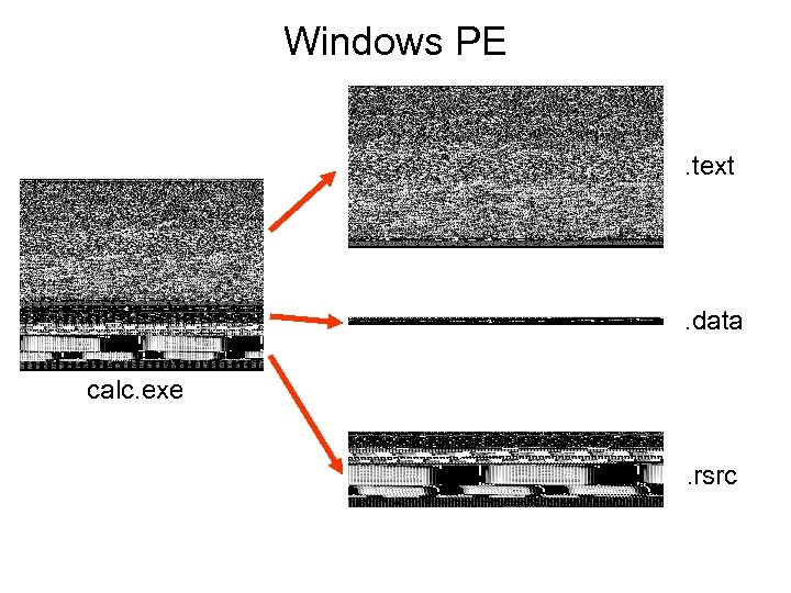 Windows PE. text . data calc. exe. rsrc