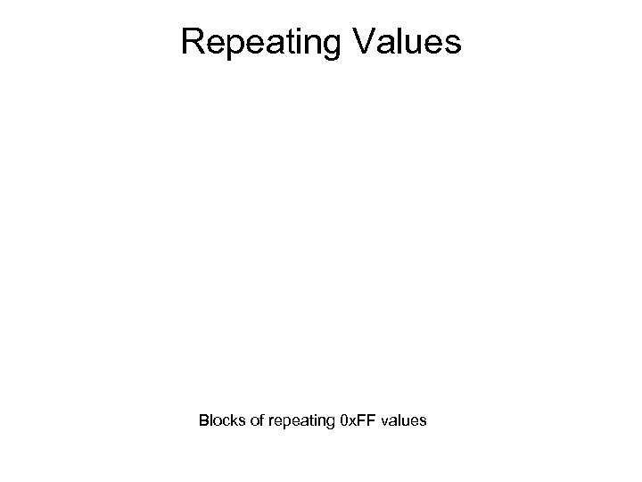 Repeating Values Blocks of repeating 0 x. FF values