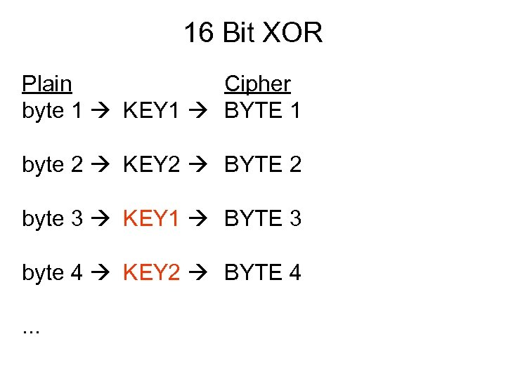 16 Bit XOR Plain Cipher byte 1 KEY 1 BYTE 1 byte 2 KEY