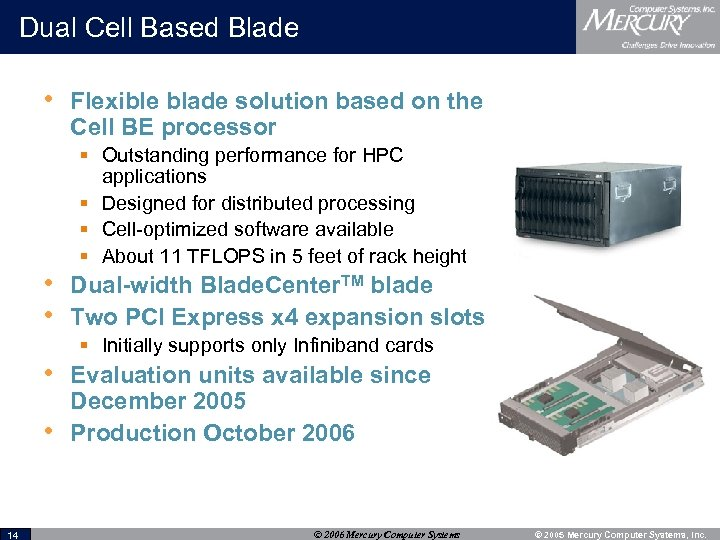Dual Cell Based Blade • Flexible blade solution based on the Cell BE processor