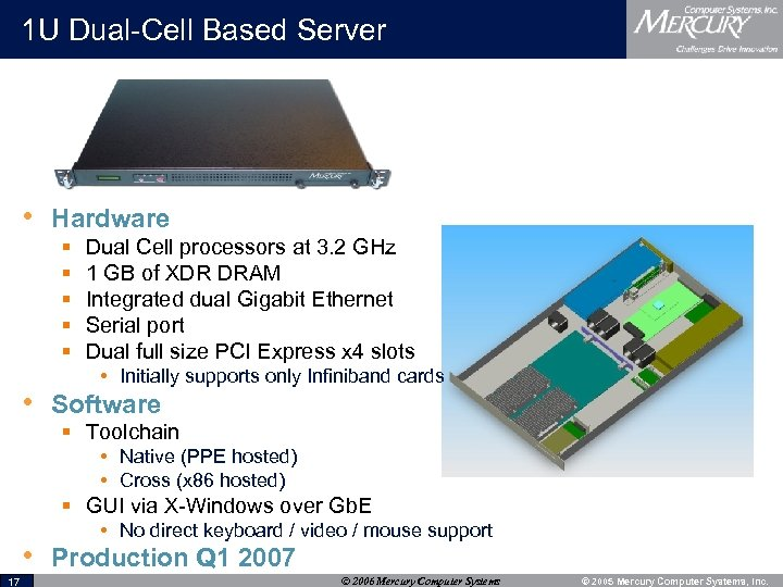 1 U Dual-Cell Based Server • Hardware § § § Dual Cell processors at