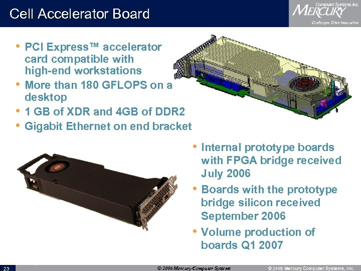 Cell Accelerator Board • PCI Express™ accelerator • • • card compatible with high-end