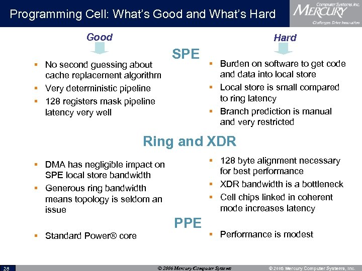 Programming Cell: What's Good and What's Hard Good Hard § No second guessing about