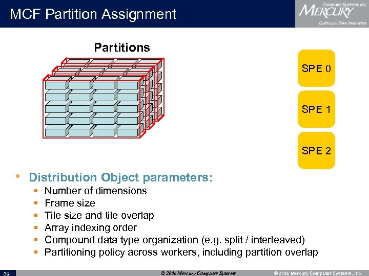 MCF Partition Assignment Partitions SPE 0 SPE 1 SPE 2 • Distribution Object parameters: