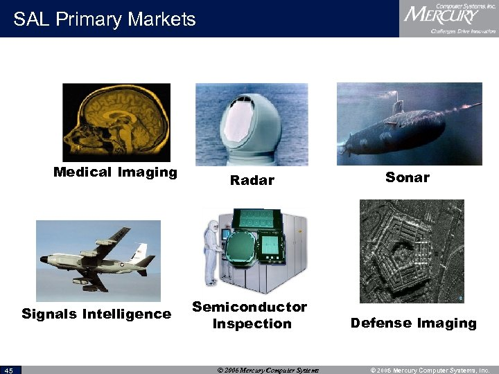 SAL Primary Markets Medical Imaging Signals Intelligence 45 Radar Semiconductor Inspection © 2006 Mercury
