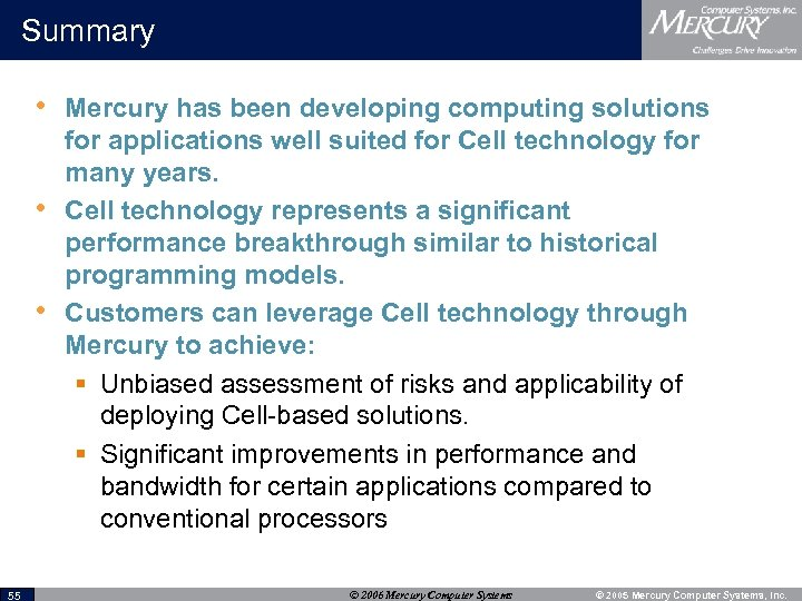 Summary • Mercury has been developing computing solutions • • 55 for applications well
