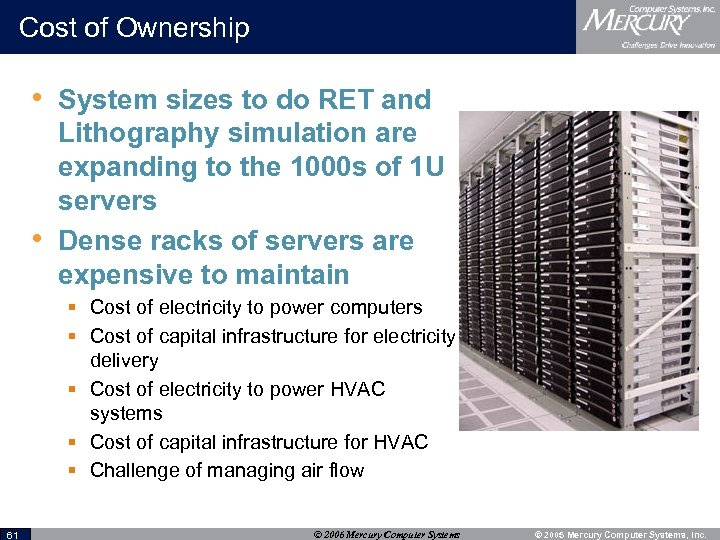 Cost of Ownership • System sizes to do RET and • Lithography simulation are