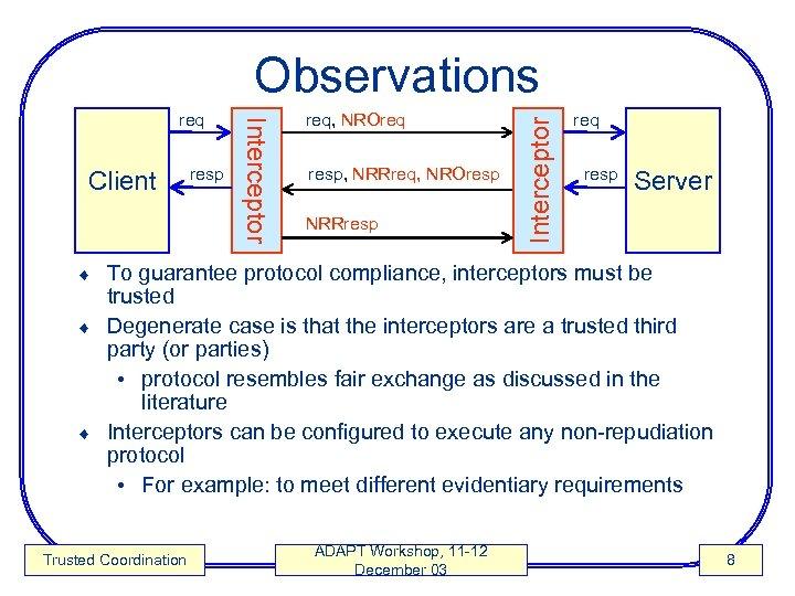 Client resp Interceptor req, NROreq resp, NRRreq, NROresp NRRresp Interceptor Observations req resp Server