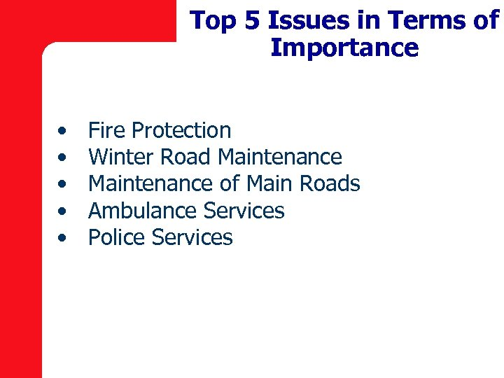 Top 5 Issues in Terms of Importance • • • Fire Protection Winter Road