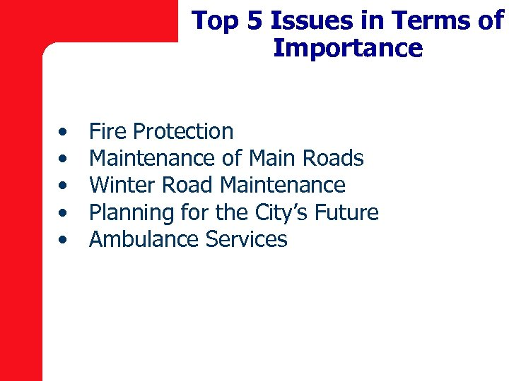 Top 5 Issues in Terms of Importance • • • Fire Protection Maintenance of