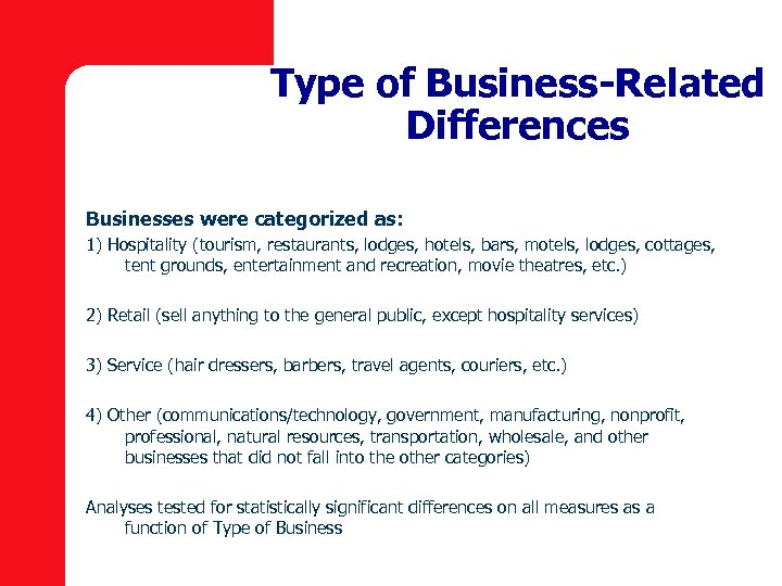 Type of Business-Related Differences Businesses were categorized as: 1) Hospitality (tourism, restaurants, lodges, hotels,