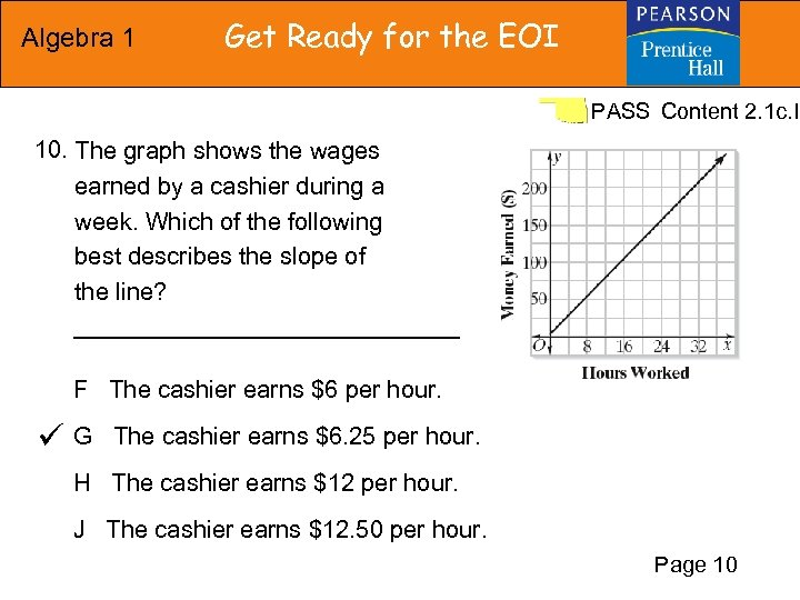 Algebra 1 Get Ready for the EOI PASS Content 2. 1 c. I 10.