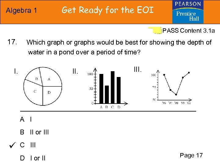 Algebra 1 Get Ready for the EOI PASS Content 3. 1 a 17. Which