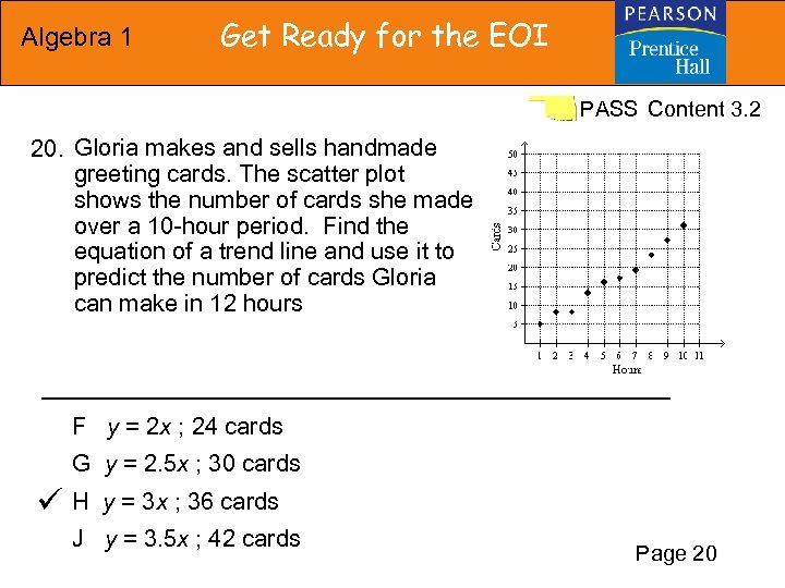 Algebra 1 Get Ready for the EOI PASS Content 3. 2 20. Gloria makes