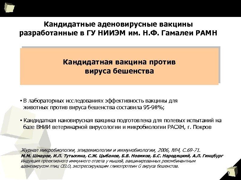 Кандидатные аденовирусные вакцины разработанные в ГУ НИИЭМ им. Н. Ф. Гамалеи РАМН Кандидатная вакцина