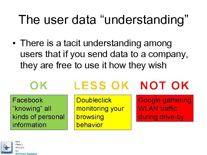 "The user data ""understanding"" • There is a tacit understanding among users that if"