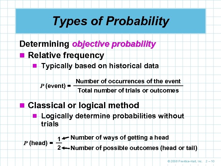 Types of Probability Determining objective probability n Relative frequency n Typically based on historical