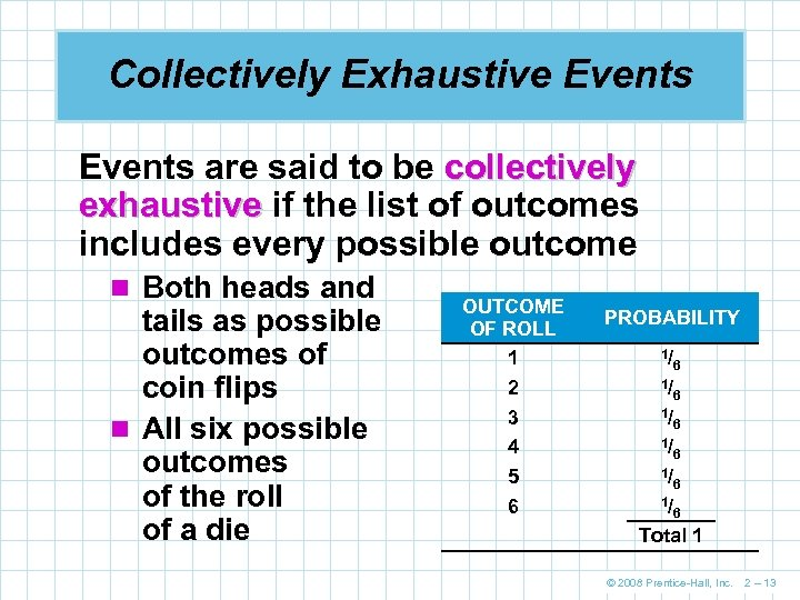 Collectively Exhaustive Events are said to be collectively exhaustive if the list of outcomes