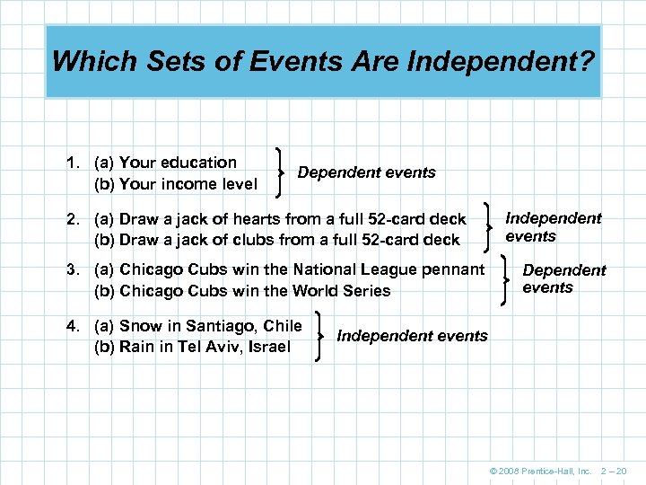 Which Sets of Events Are Independent? 1. (a) Your education (b) Your income level
