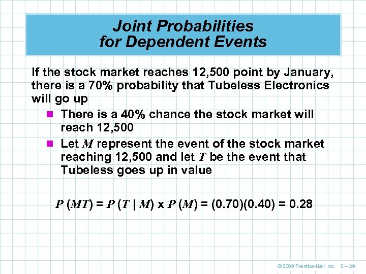 Joint Probabilities for Dependent Events If the stock market reaches 12, 500 point by