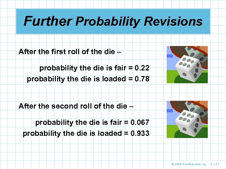 Further Probability Revisions After the first roll of the die – probability the die