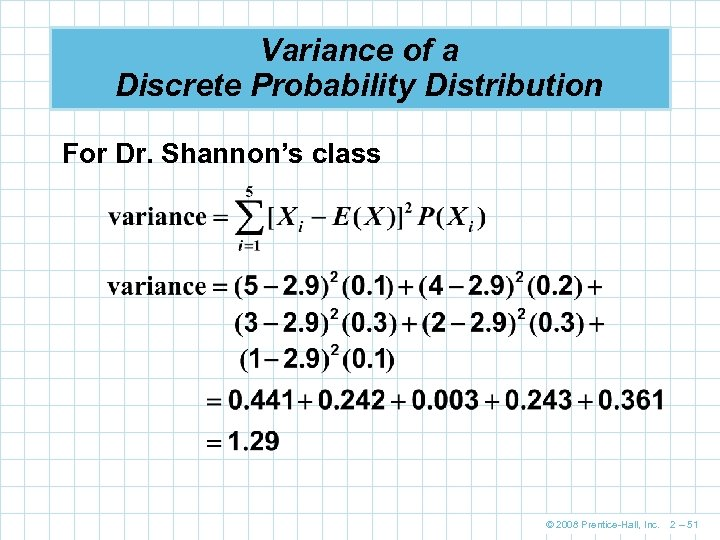 Variance of a Discrete Probability Distribution For Dr. Shannon's class © 2008 Prentice-Hall, Inc.