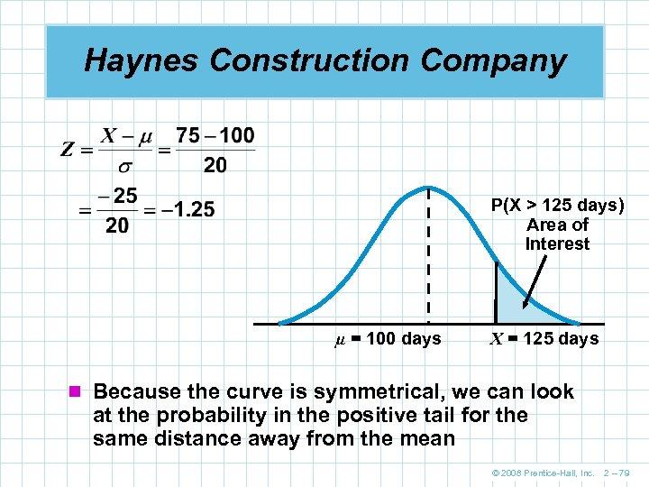 Haynes Construction Company P(X > 125 days) Area of Interest µ = 100 days