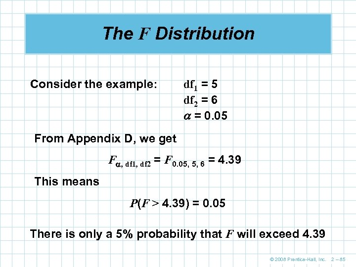 The F Distribution Consider the example: df 1 = 5 df 2 = 6