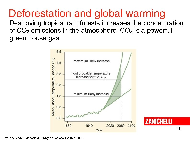Deforestation and global warming Destroying tropical rain forests increases the concentration of CO 2