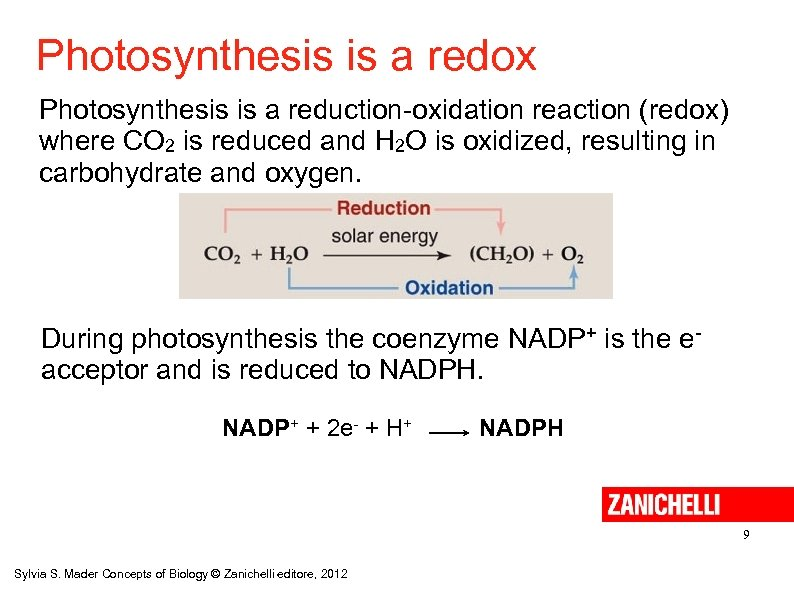 Photosynthesis is a redox Photosynthesis is a reduction-oxidation reaction (redox) where CO 2 is