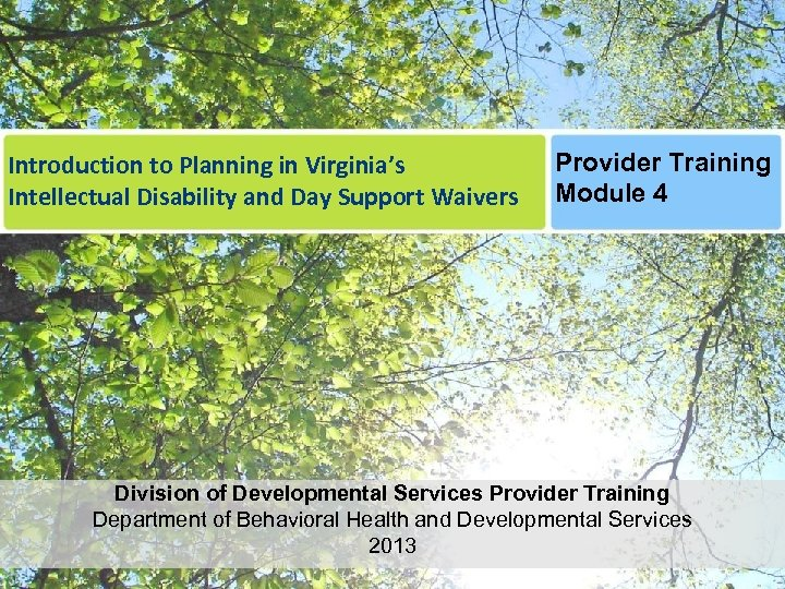 Introduction to Planning in Virginia's Intellectual Disability and Day Support Waivers Provider Training Module