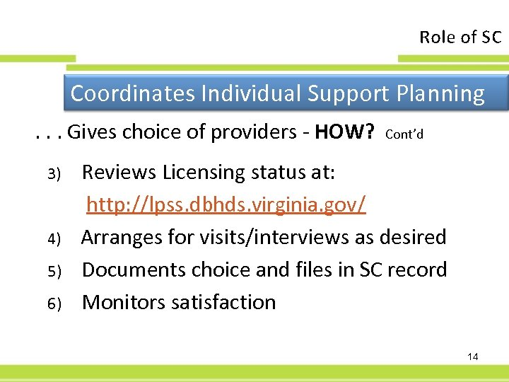Role of SC Coordinates Individual Support Planning. . . Gives choice of providers -