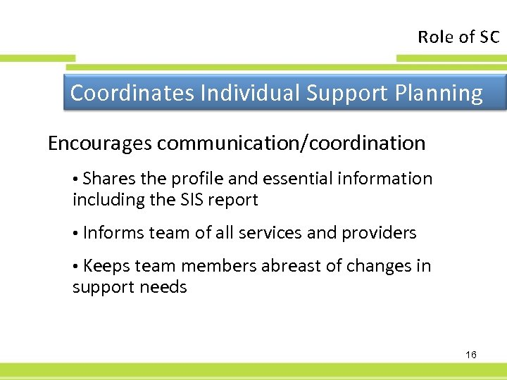 Role of SC Coordinates Individual Support Planning Encourages communication/coordination • Shares the profile and