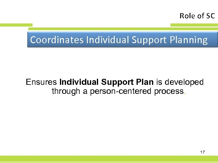 Role of SC Coordinates Individual Support Planning Ensures Individual Support Plan is developed through