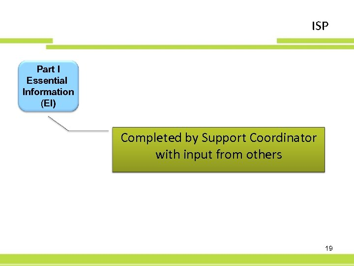 ISP Part I Essential Information (EI) Completed by Support Coordinator with input from others