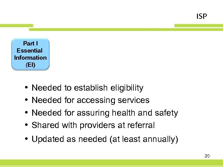 ISP Part I Essential Information (EI) • • • Needed to establish eligibility Needed