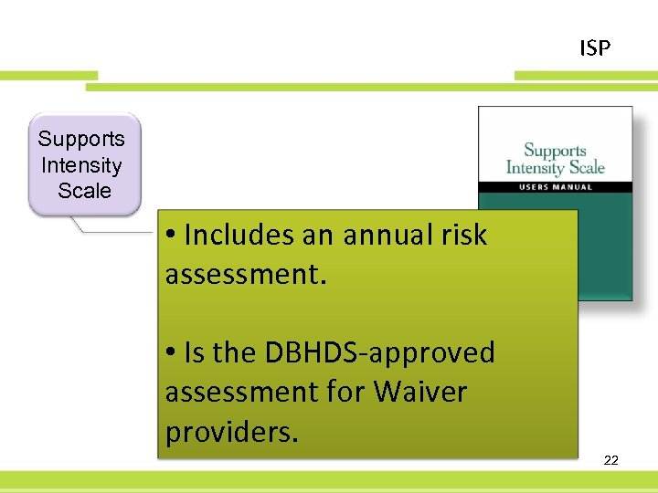 ISP Supports Intensity Scale • Includes an annual risk assessment. • Is the DBHDS-approved
