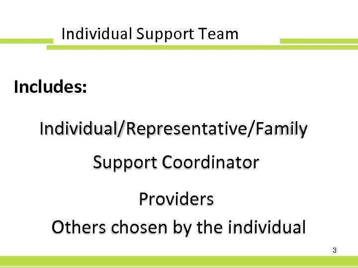 Individual Support Team Includes: Individual/Representative/Family Support Coordinator Providers Others chosen by the individual 3