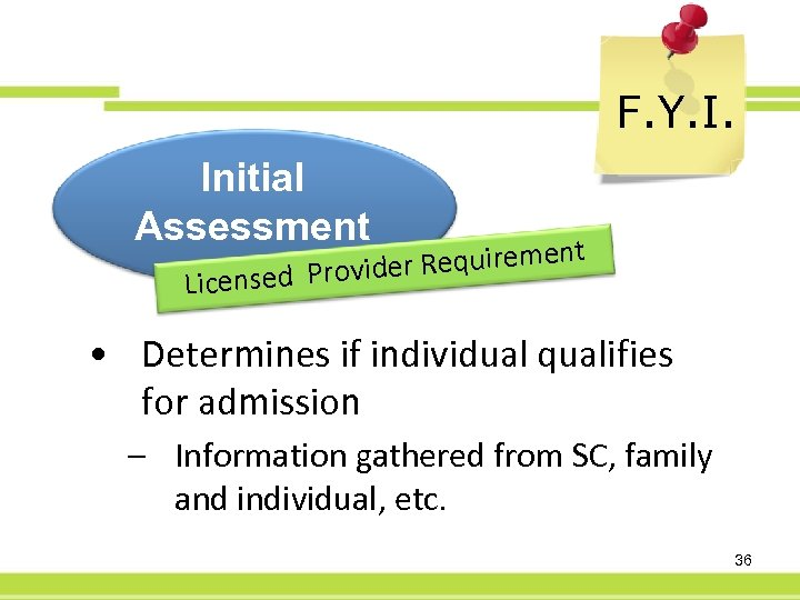 F. Y. I. Initial Assessment r Requirement e censed Provid Li • Determines if