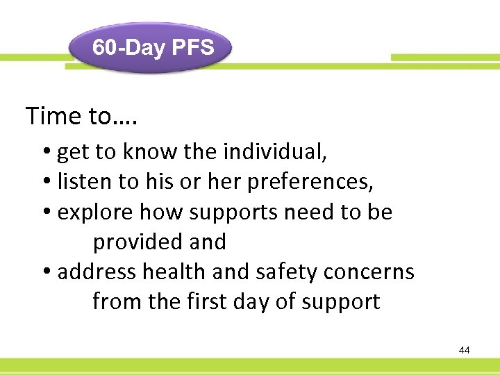 60 -Day PFS Time to…. • get to know the individual, • listen to