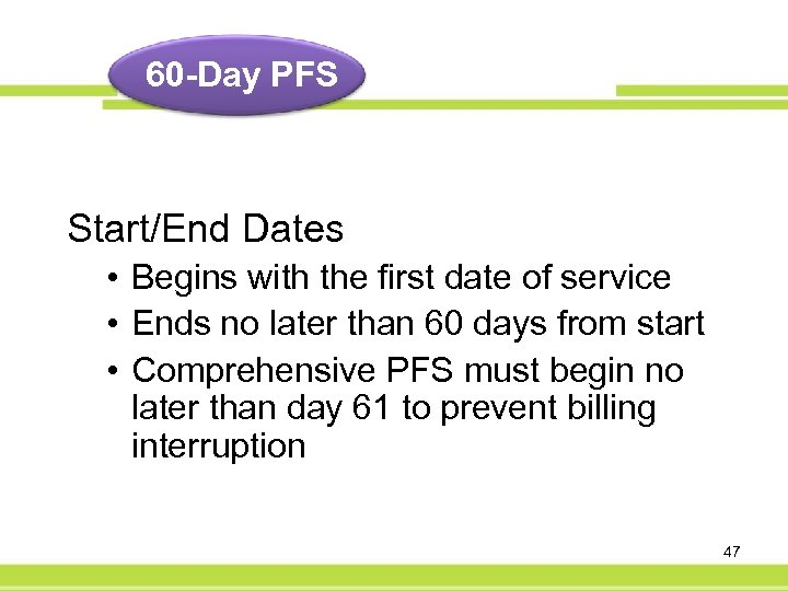 60 -Day PFS Start/End Dates • Begins with the first date of service •