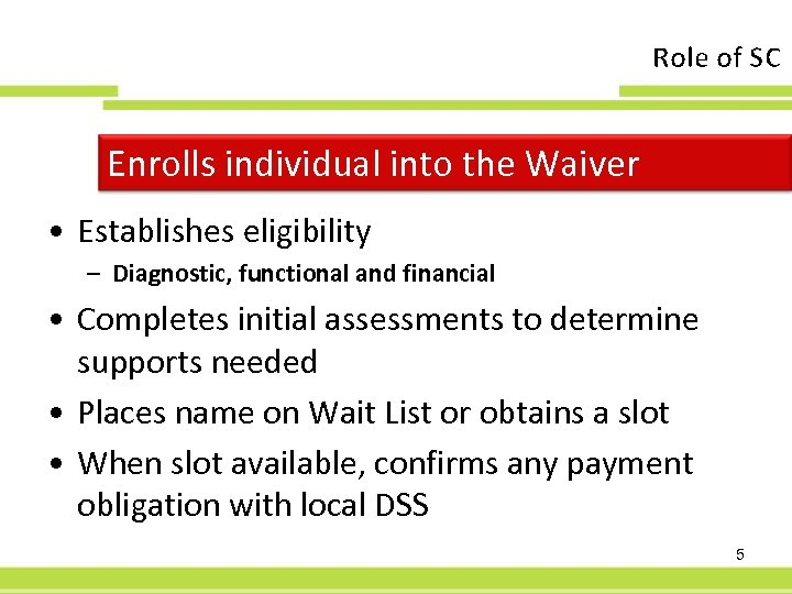 Role of SC Enrolls individual into the Waiver • Establishes eligibility – Diagnostic, functional