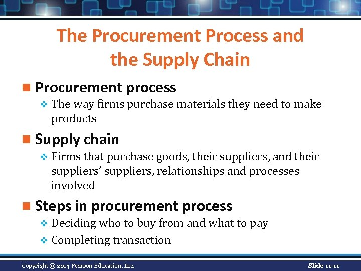 The Procurement Process and the Supply Chain n Procurement process v The way firms