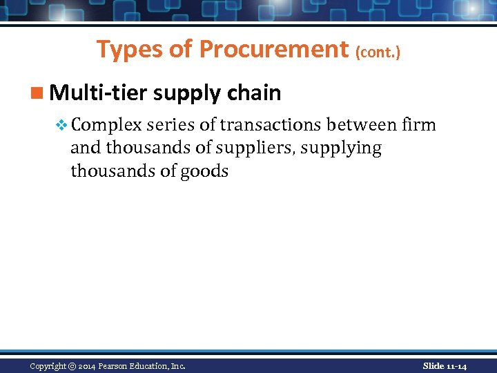 Types of Procurement (cont. ) n Multi-tier supply chain v Complex series of transactions