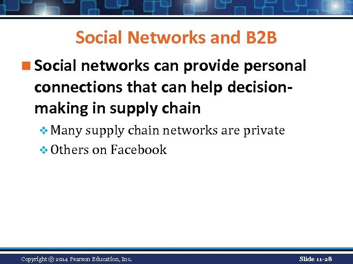 Social Networks and B 2 B n Social networks can provide personal connections that
