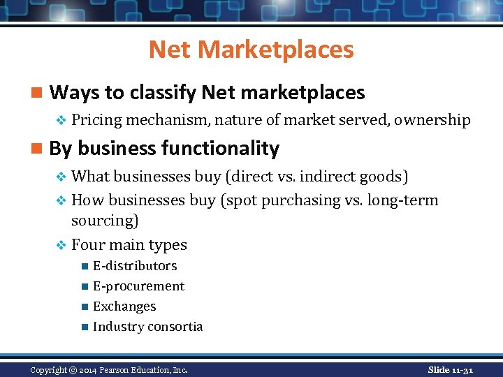 Net Marketplaces n Ways to classify Net marketplaces v Pricing mechanism, nature of market